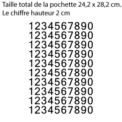 Pochette 10 x 10 chiffres autocollants H 2 cm