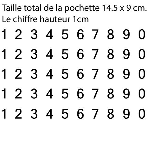 Pochette 5 x 10 chiffres autocollants H 1cm