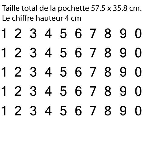 Pochette 5 x 10 chiffres autocollants H 4cm