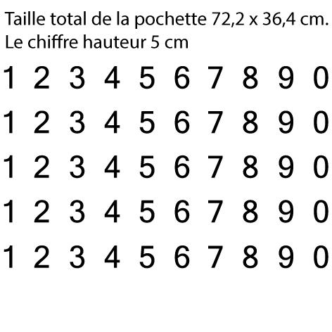 Pochette 5 x 10 chiffres autocollants H 5cm