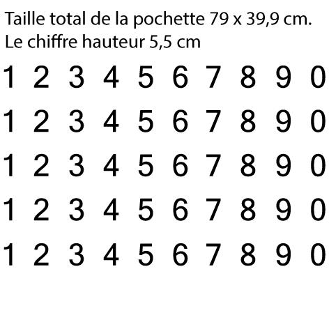 Pochette 5 x 10 chiffres autocollants H 5.5cm