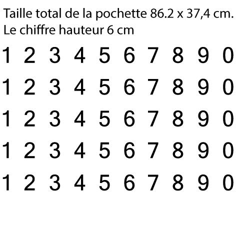 Pochette 5 x 10 chiffres autocollants H 6cm