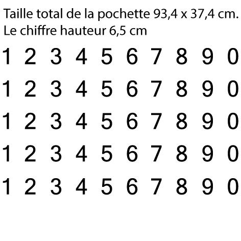 Pochette 5 x 10 chiffres autocollants H 6.5cm