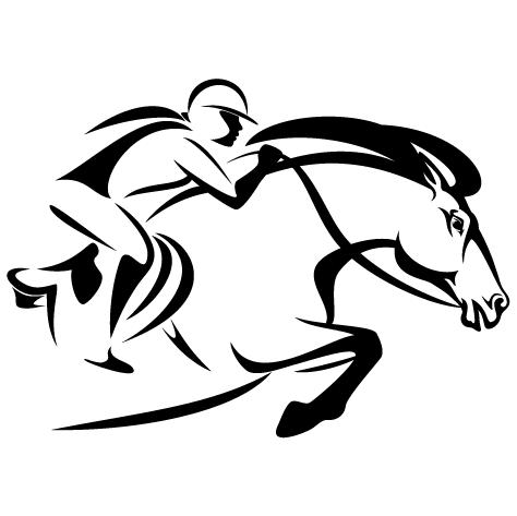Silhouette cheval de course