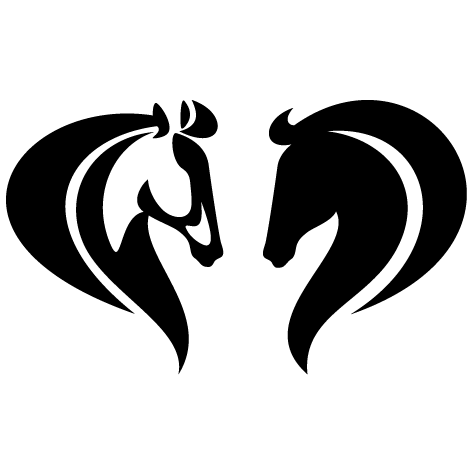 Silhouette cheval face à face