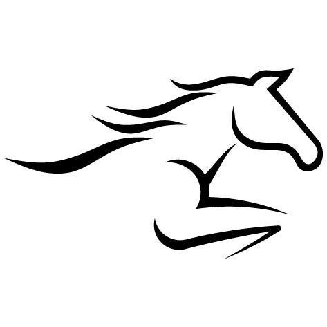 Silhouette de cheval qui saute