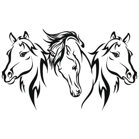 Silhouette trois têtes de cheval