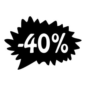 Étiquette soldes promotion -40%