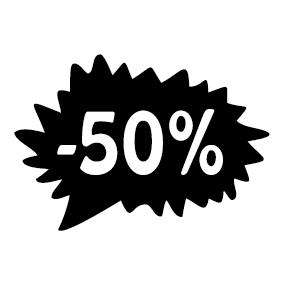 Étiquette soldes promotion -50%