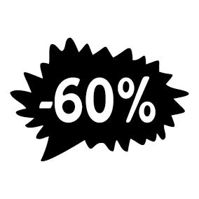 Étiquette soldes promotion -60%
