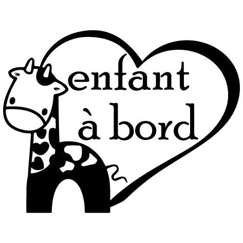 Enfant à bord - cœur girafe