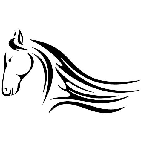 Sticker tête de cheval tribal : 02