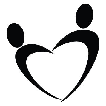 Sticker coeur silhouettes
