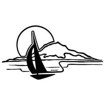 Sticker bateau coucher de soleil