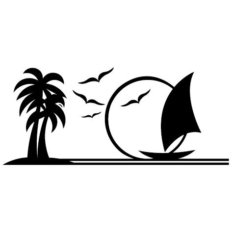 Sticker bateau mouettes