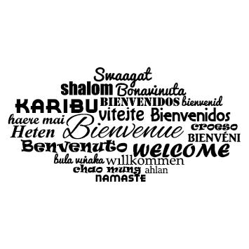 Sticker bienvenue multi langue