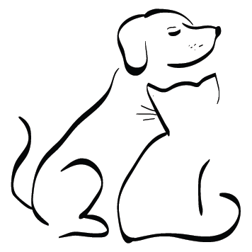 Sticker chien et chat amoureux
