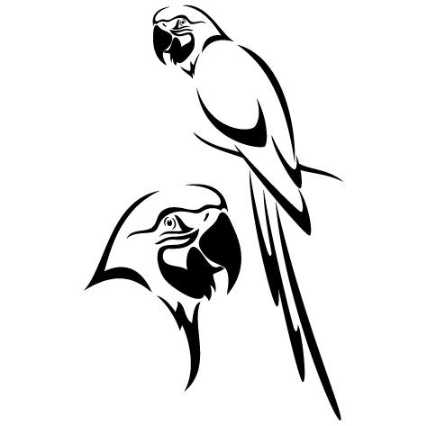 Sticker perroquets tropicaux