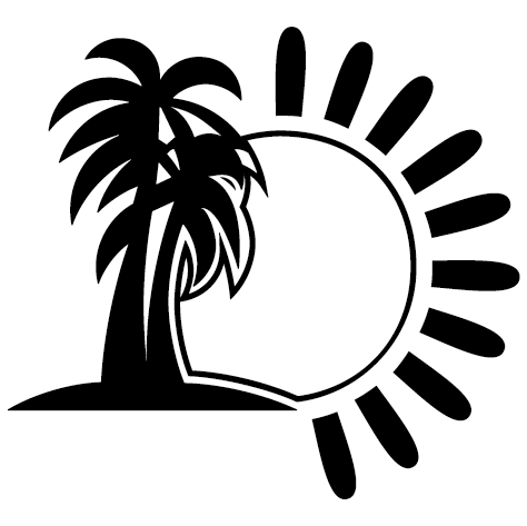 Sticker soleil palmier