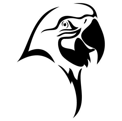 Sticker tête de perroquet