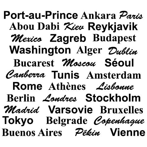 Achat Sticker Capitales du monde