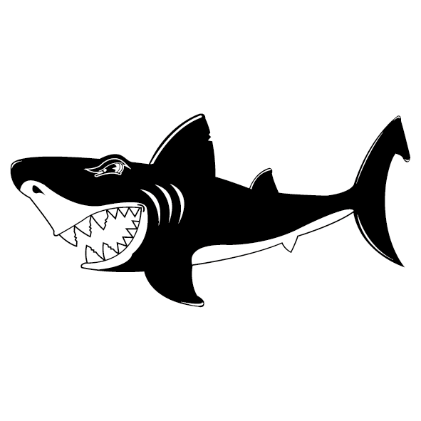 Stickers poissons ultra r sistant petits prix lettres adh sives 26 - Requin rigolo ...