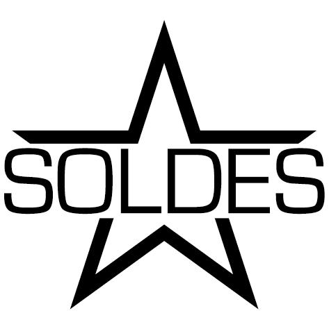 Sticker lettres soldes sur étoile