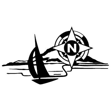 Sticker bateau rivage
