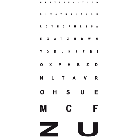 Autocollant Alphabet test monoyer à 5 mètre
