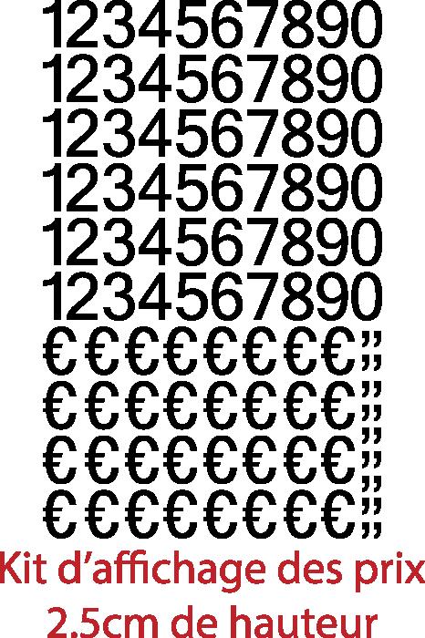 Achat Chiffres autocollants + € et virgules (150 pièces Hauteurs chiffres et € 2.5cm virgules 0.8mm), livrée avec le film de pose