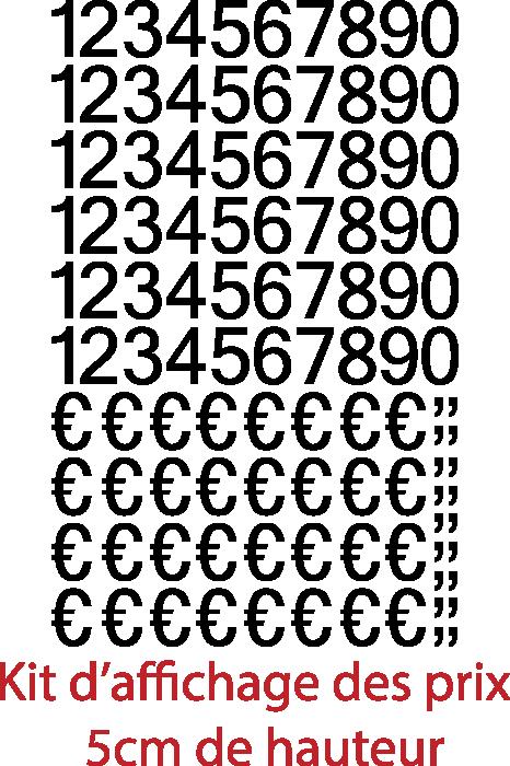 Achat Chiffres autocollants + € et virgules (150 pièces Hauteurs chiffres et € 5cm virgules 1.6cm), livrée avec le film de pose