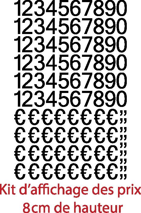 Achat Chiffres autocollants + € et virgules  (150 pièces Hauteurs chiffres et € 8cm virgules 2.5cm), livrée avec le film de pose