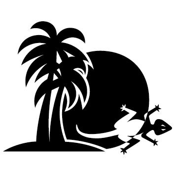 Autocollant palmier gecko