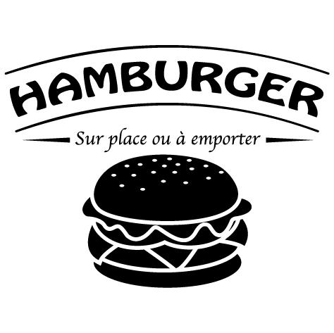 Sticker hamburger sur place ou à emporter