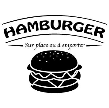 Sticker hamburger sur place ou à emporter