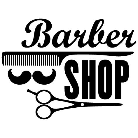 Sticker barber shop ciseaux
