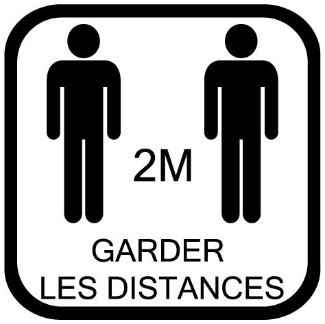 Sticker garder les distances 2m