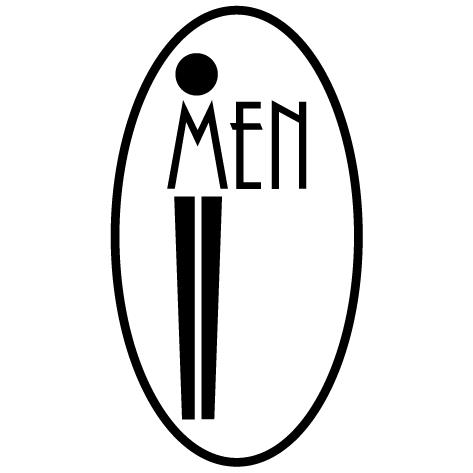 Autocollant Men avec contour ovale