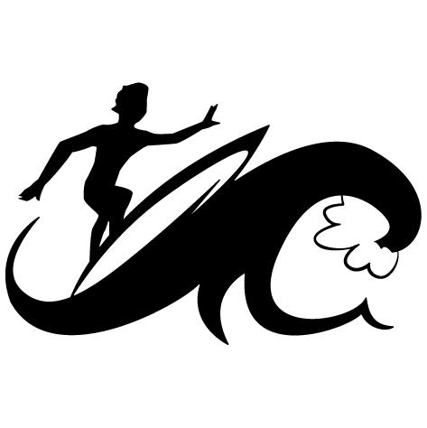 Sticker Planche sur la vague