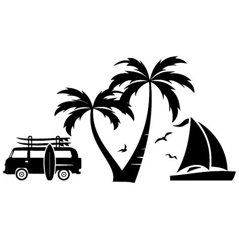Sticker Van Voilier avec palmier