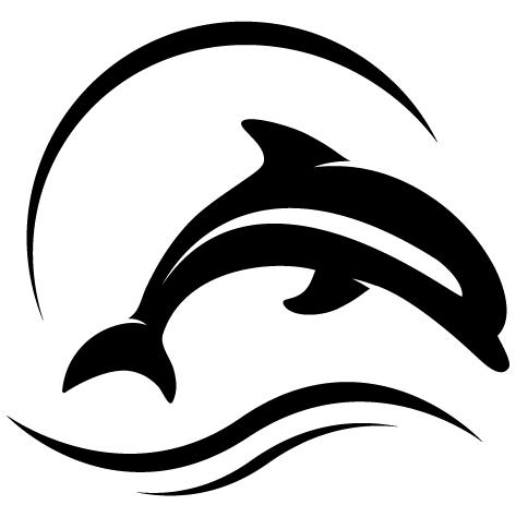 Sticker dauphin dans les vagues