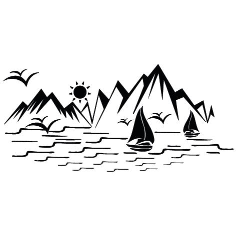 Sticker montagne et mer